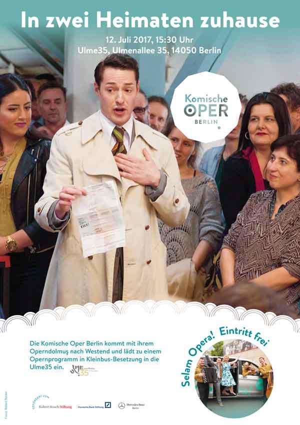 Plakat für die Oper im Kleinbusformat in der Ulme35 am 12.7.2017